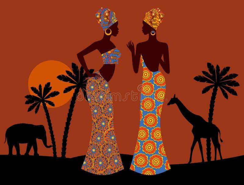ландшафт тропический красивейшая чернокожая женщина африканская саванна иллюстрация вектора