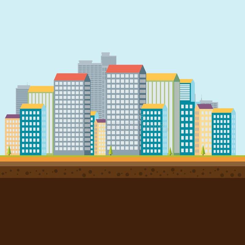 ландшафт урбанский также вектор иллюстрации притяжки corel иллюстрация штока