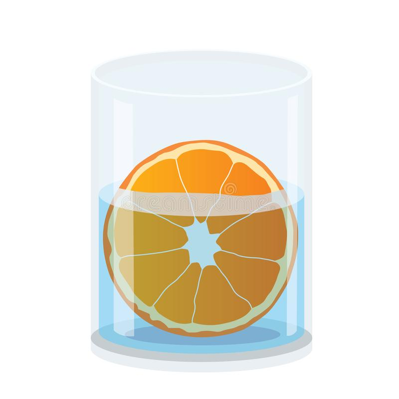 Апельсин в стекле изолированном на белой иллюстрации предпосылки иллюстрация штока