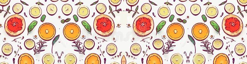 Апельсин и лимон еды плода на белой предпосылке бесплатная иллюстрация