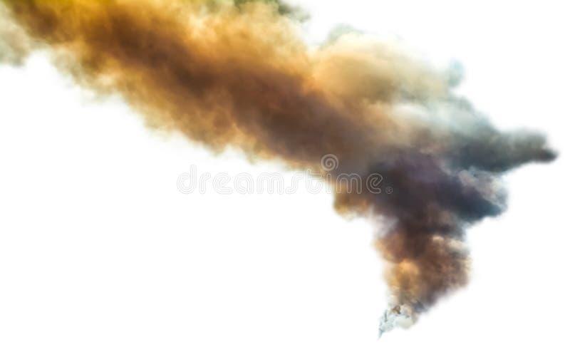 Апельсин и серое темное облако дыма лесного пожара изолированные на белой предпосылке Бедствие природы опасное Поднимая сажа и пы стоковые фото
