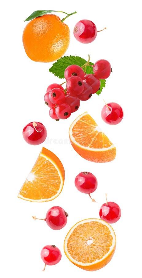 Апельсин летания и красная смородина изолированные на белизне стоковые изображения
