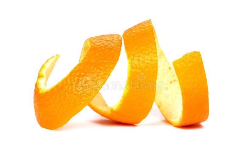 Апельсиновая корка, белая предпосылка стоковая фотография rf