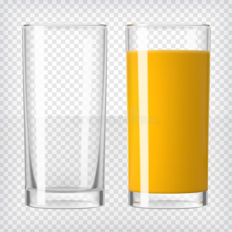 Апельсиновый сок и пустое стекло бесплатная иллюстрация