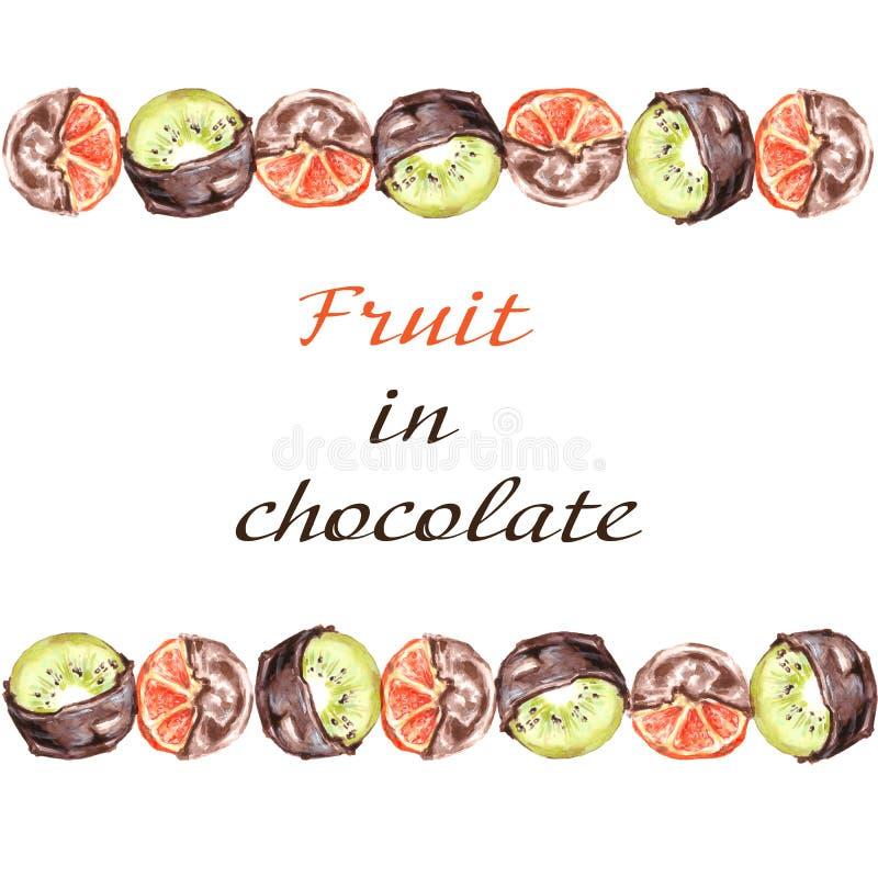 Апельсины и плодоовощ кивиа в шоколаде Рамка на белой предпосылке иллюстрация вектора