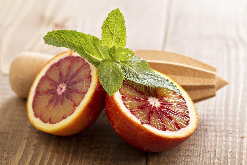 Апельсины крови с свежей мятой стоковое фото