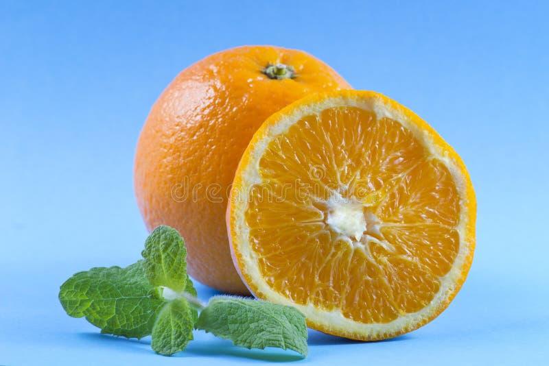 Апельсины с лист мяты стоковые фото