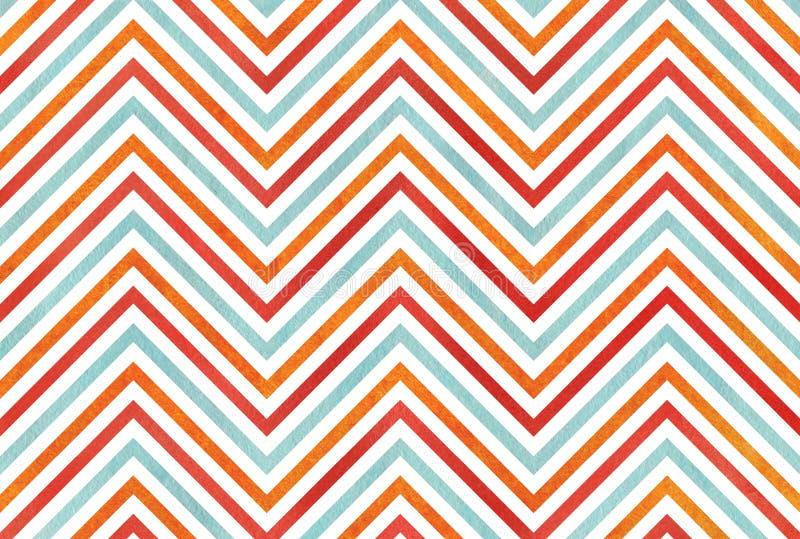 Апельсин акварели, голубой и красный цвет stripes предпосылка, шеврон иллюстрация вектора