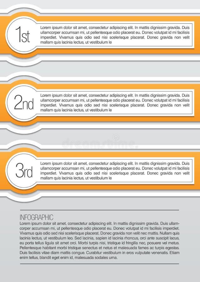 Апельсин и округленные белизной infographic lables иллюстрация вектора
