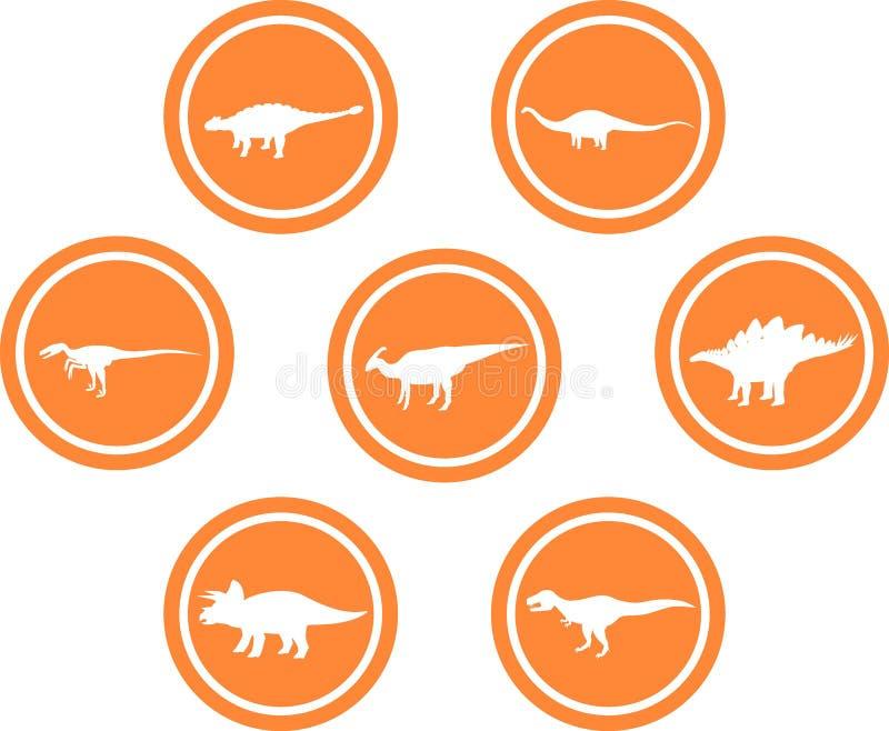 Апельсин круглой эмблемы динозавра установленный иллюстрация штока