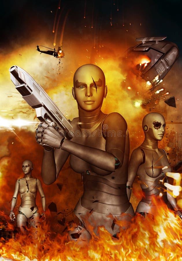 Апокалипсис роботов иллюстрация вектора