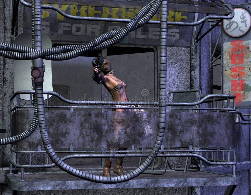 апоралипсическая женщина столба пушки иллюстрация вектора