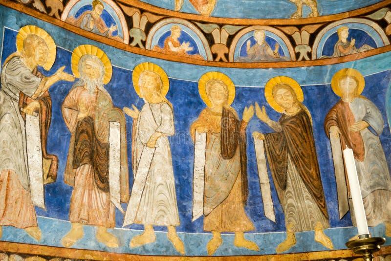 Апостолы в средневековой картине стоковые фото