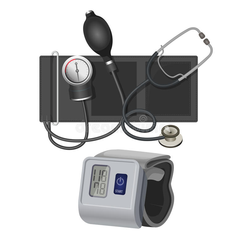 Аппаратура манометра для измеряя иллюстрации вектора кровяного давления реалистической иллюстрация вектора