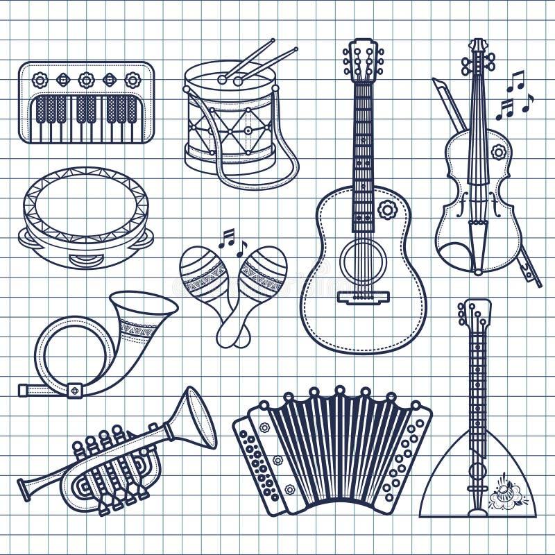 аппаратуры музыкальные Вектор дизайна установленный Monochrome иллюстрация вектора