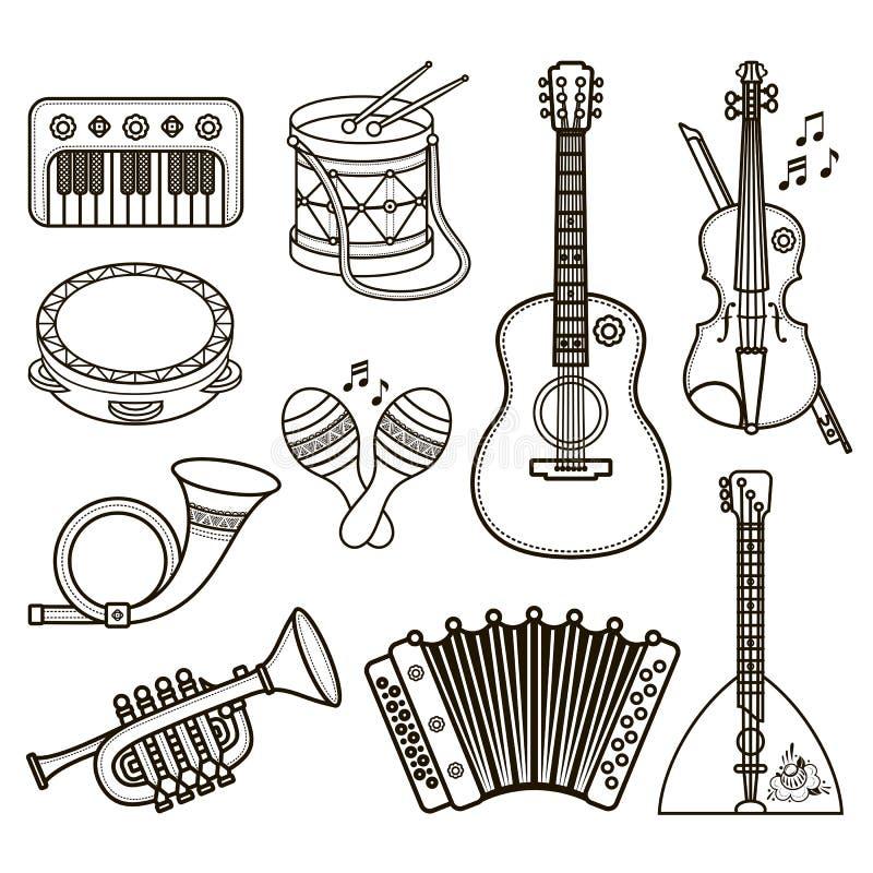 аппаратуры музыкальные Вектор дизайна установленный Monochrome бесплатная иллюстрация