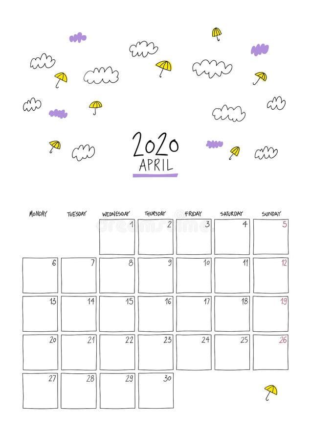 Апрель 2020 года: календарь на стене иллюстрация штока