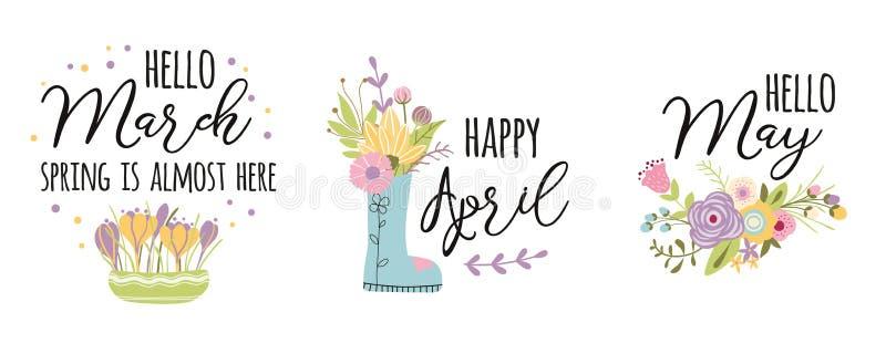 Апрель -го март, может Весна оформления вектора закавычит милыми украшенные словами цветки весны руки вычерченные милые иллюстрация вектора
