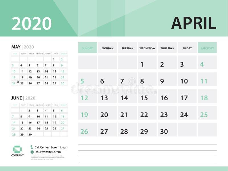Апрель 2020, дизайн 2020, зеленая концепция вектора настольного календаря для дела; Начало недели в воскресенье иллюстрация штока