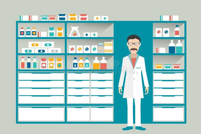 Аптекарь в фармации, аптека человека Полки с медицинами, лечением, пилюльками бесплатная иллюстрация