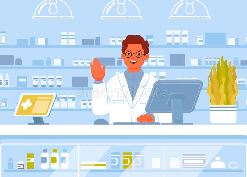Аптекарь показывает приветствуя жест Аптека Плакат для дизайна вебсайта фармации бесплатная иллюстрация