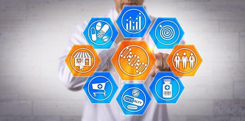 Аптекарь улучшая здравоохранение через профилировать дна стоковое изображение