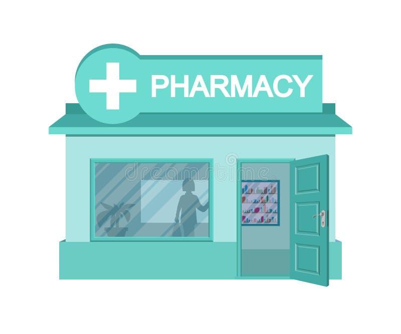 Аптека вектора плоская Фасад магазина фармации изолированный на белой предпосылке Дом аптеки Здание магазина фармации мультфильма иллюстрация вектора