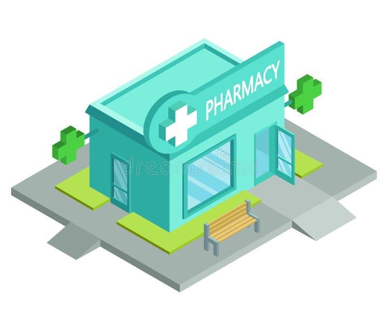 Аптека вектора равновеликая Фасад магазина фармации изолированный на белой предпосылке Дом аптеки Магазин фармации мультфильма иллюстрация вектора