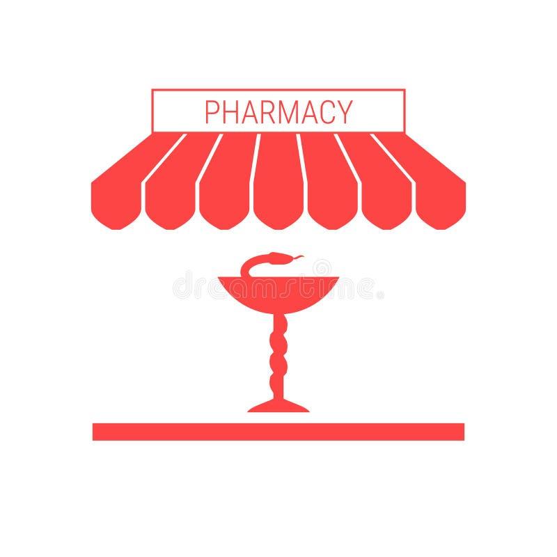 Аптека, значок фармации одиночный плоский Striped тент и шильдик иллюстрация штока