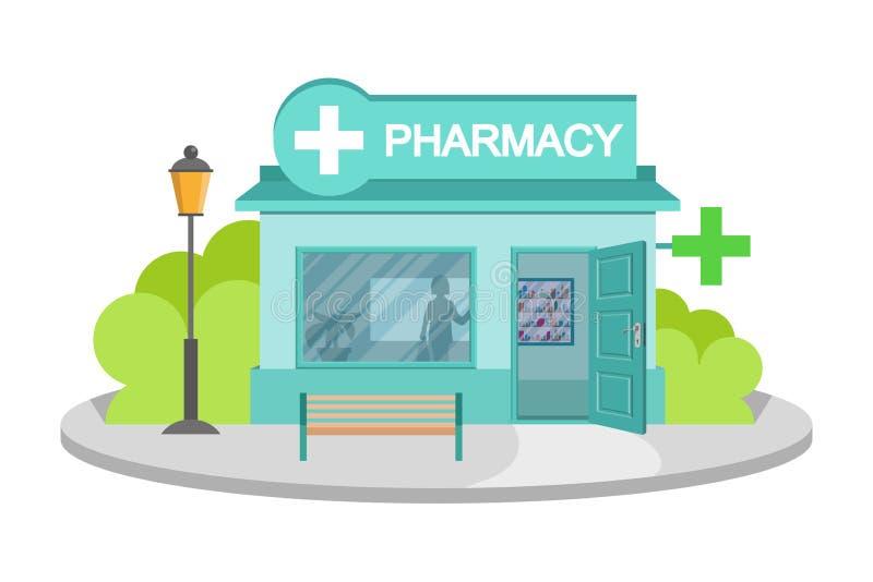Аптека изображения вектора Фасад магазина фармации изолированный на белой предпосылке Дом аптеки Здание магазина фармации мультфи бесплатная иллюстрация