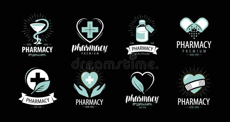 Аптека, комплект фармации логотипов или ярлыки Медицина, здоровье, символ больницы также вектор иллюстрации притяжки corel бесплатная иллюстрация