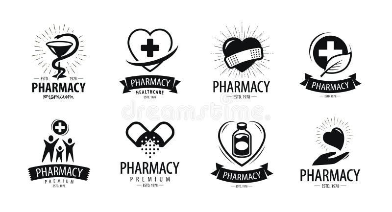 Аптека, логотип фармации или ярлык Медицина, здоровье, символ больницы также вектор иллюстрации притяжки corel иллюстрация вектора