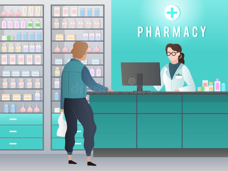 Аптека Фармация с аптекарем, клиентом с рецептом покупает медицину в медицинском магазине Фармацевтическая розница иллюстрация штока