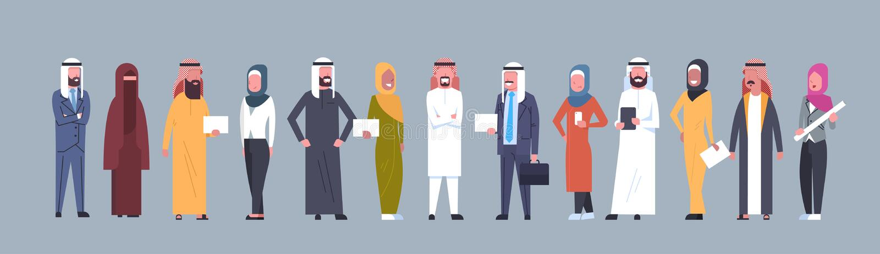 Арабская группа людей нося традиционные одежды полнометражные арабские бизнесмена и женщину, мусульманский мужчину и женщину иллюстрация штока