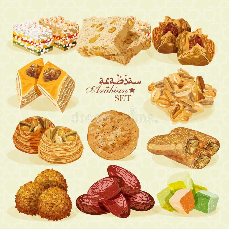 арабская еда Комплект восточных десертов иллюстрация штока