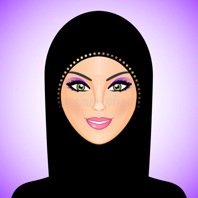 Арабская женщина в черноте иллюстрация штока
