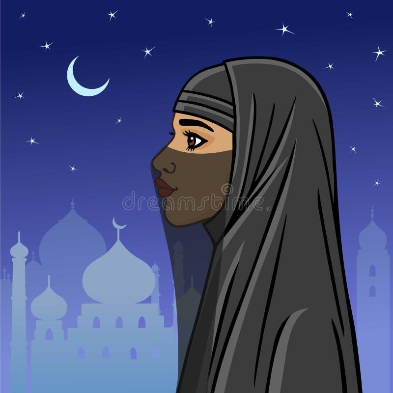 Арабская женщина в niqab иллюстрация штока