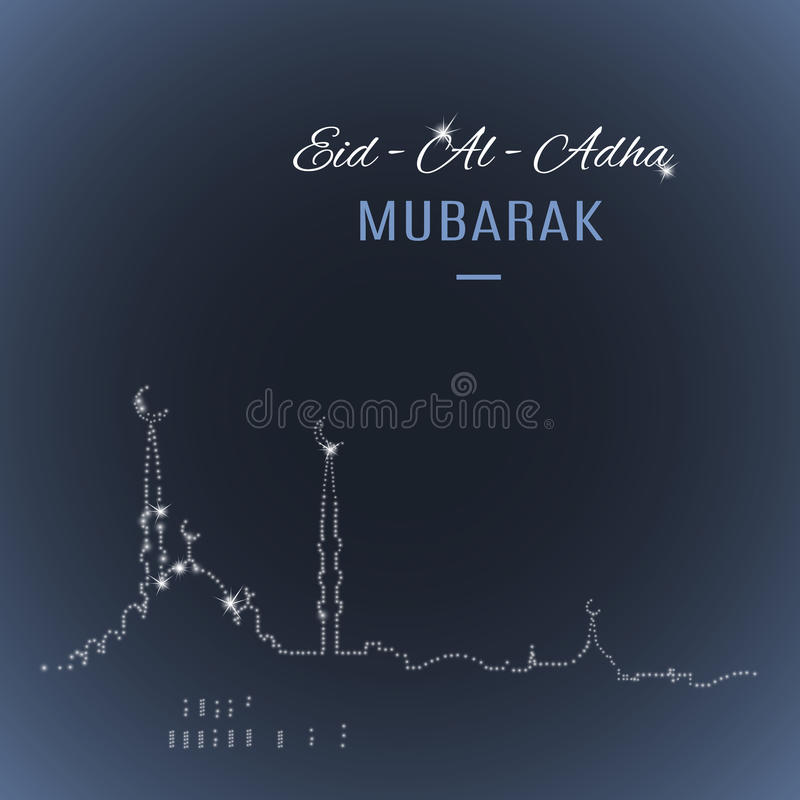 Арабская исламская поздравительная открытка Mubarak Eid-Al-Adha праздника с мечетью иллюстрация штока