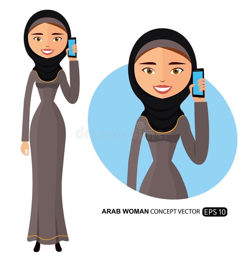 Арабская коммерсантка говоря на векторе телефона плоско изолированном на белизне бесплатная иллюстрация