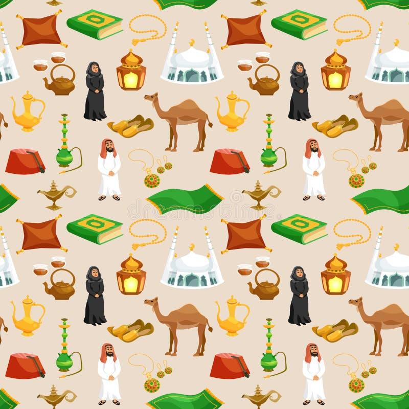 Арабская культура безшовная иллюстрация штока