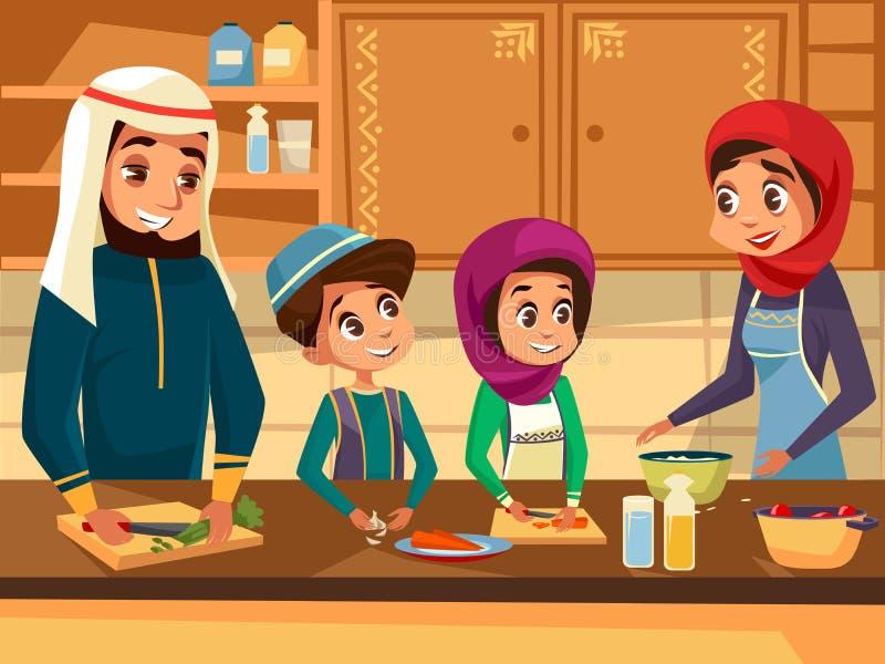 Арабская семья варя совместно на иллюстрации шаржа вектора кухни плоской мусульманских людей подготавливая еды в аравийце иллюстрация штока