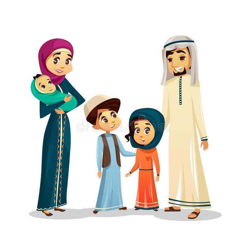 Арабская семья в традиционной иллюстрации вектора одежды мусульманских родителей и детей в аравийских одеждах иллюстрация вектора