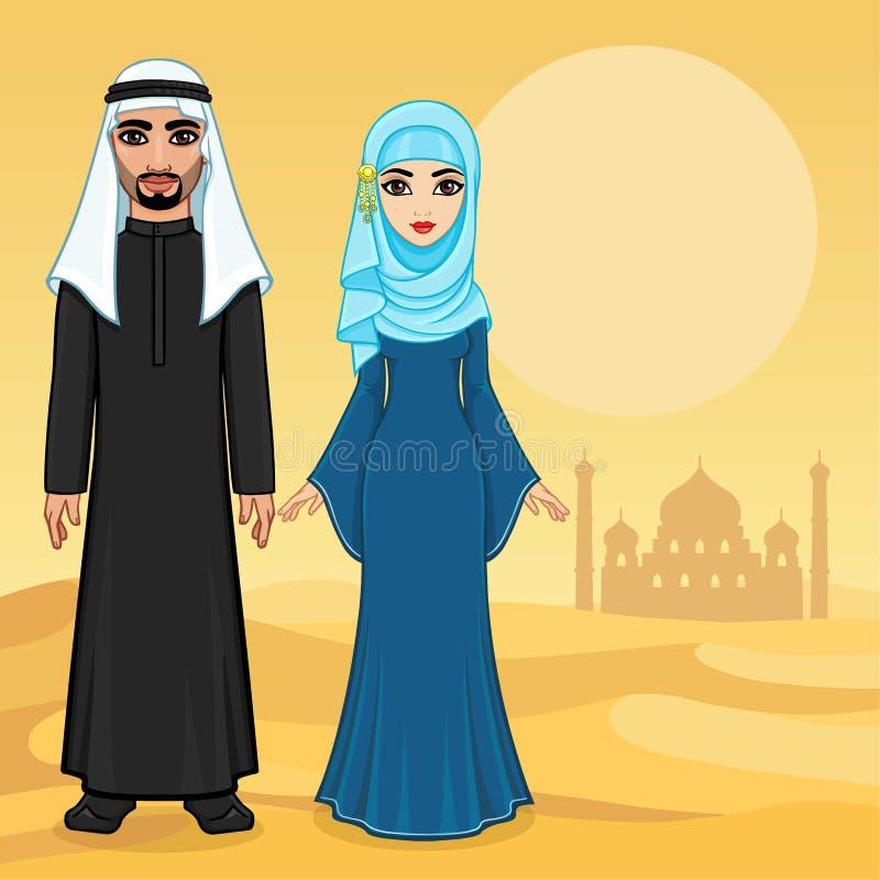 Арабская сказка Портрет анимации красивой арабской семьи в старых одеждах бесплатная иллюстрация