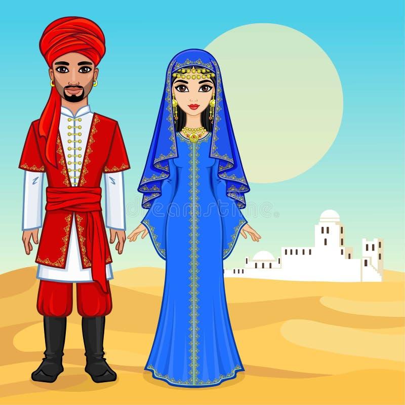 Арабская сказка Портрет анимации красивой арабской семьи в старых одеждах иллюстрация вектора