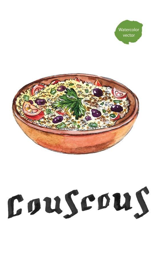 Арабская традиционная кухня - кускус иллюстрация вектора