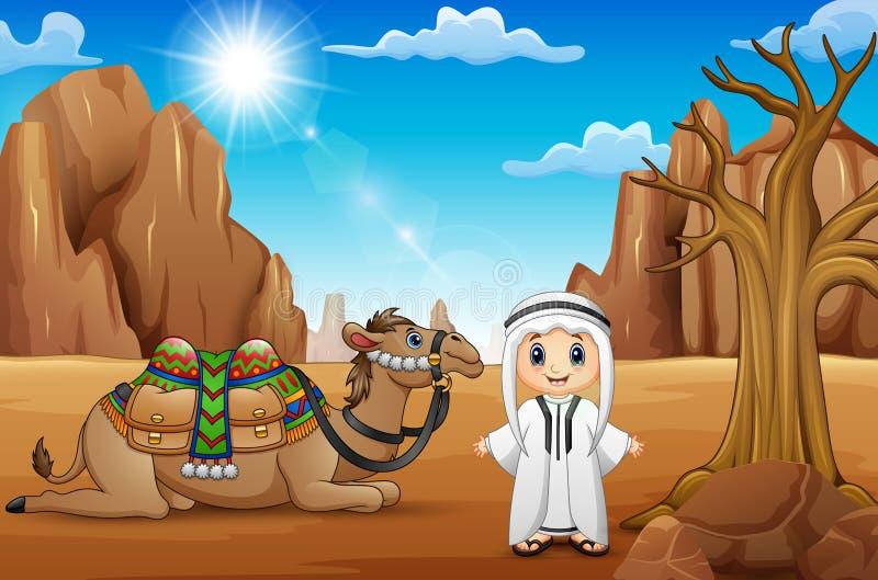 Арабские мальчики с верблюдами в пустыне бесплатная иллюстрация