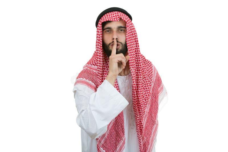 Арабский бизнесмен в концепции безмолвия изолированный на белизне стоковые изображения