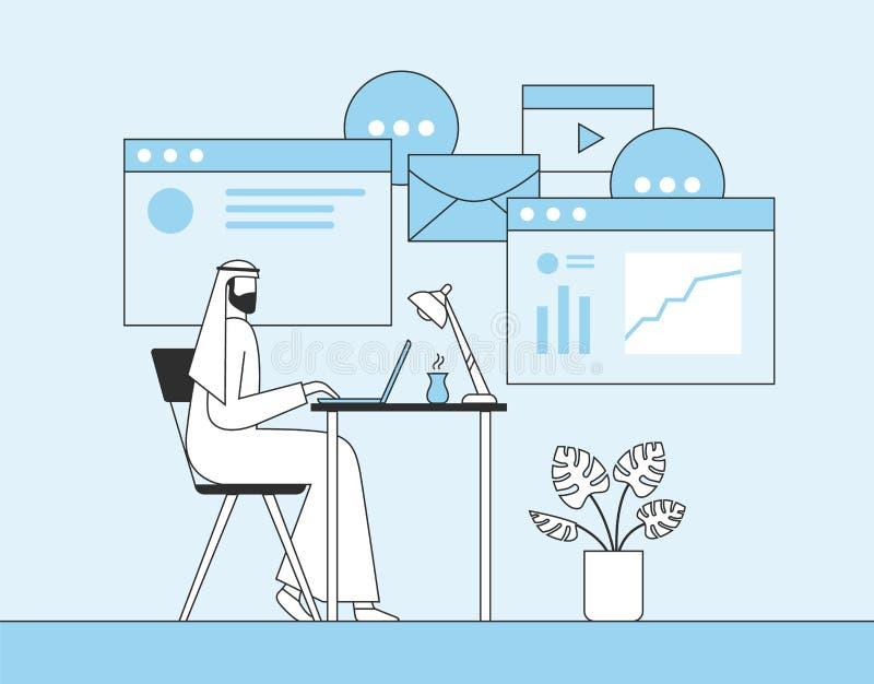 Арабский бизнесмен работая с ноутбуком в офисе Интернет-страница, знамя, социальная предпосылка средств массовой информации r иллюстрация штока