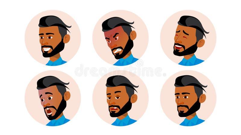 Арабский вектор людей воплощения человека Араб, мусульманин Шуточные эмоции Плоский красивый менеджер Счастливый, несчастный Смех иллюстрация штока
