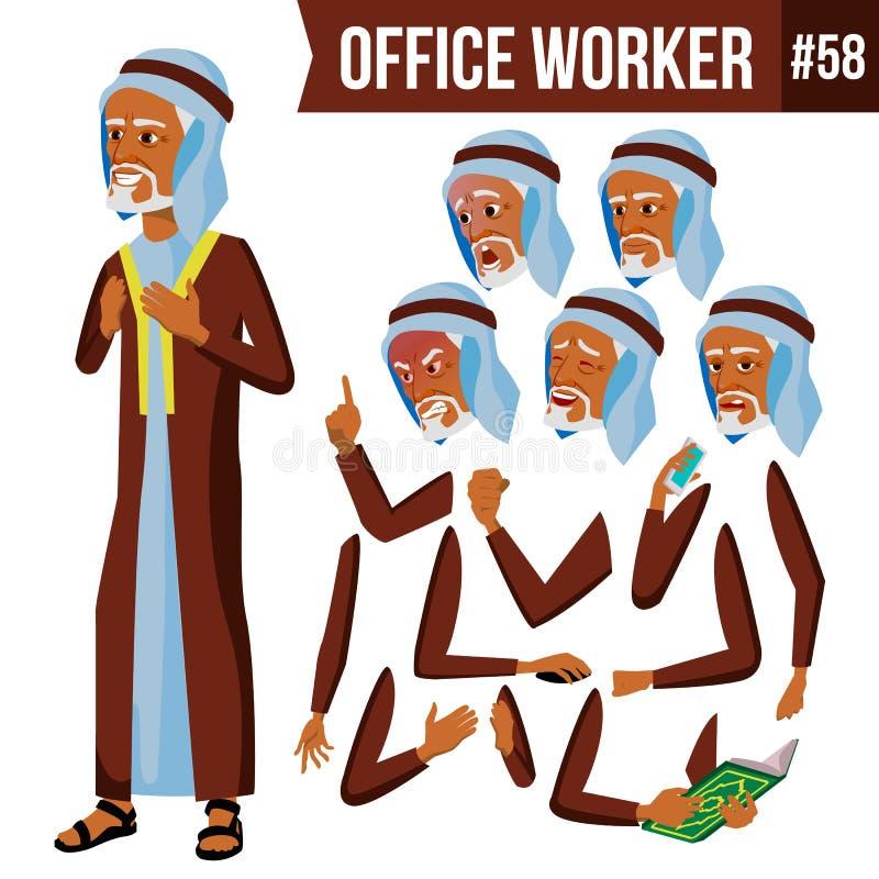 Арабский вектор работника офиса Араб, мусульманин Эмоции стороны, различные жесты Комплект творения анимации Человек бизнесмена иллюстрация вектора